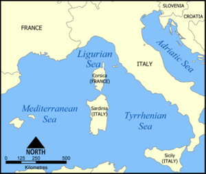 Mediterranean campaign of 1793–1796 - Modern map of the Western Mediterranean. Most of the campaign was fought in the Ligurian Sea.