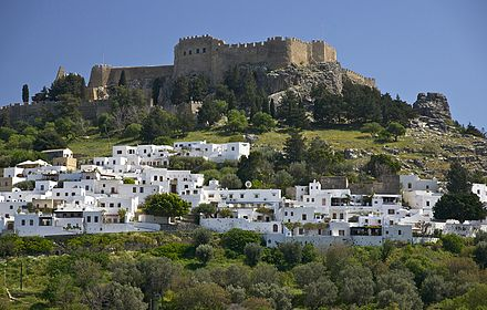 View of Lindos with the Acropolis Lindos Rhodes.jpg