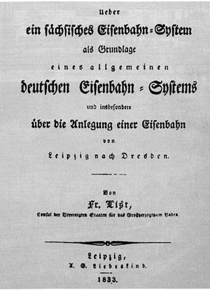 Leipzig–Dresden Railway Company - Title page of List's paper About a Saxon railway system as the basis of a general German railway system and especially about the routing of a railway from Leipzig to Dresden, Leipzig 1833