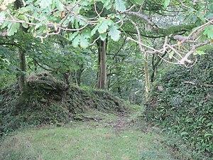 Llangynwyd Castle - The ruinous north eastern approach to Llangynywyd Castle.
