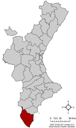 Vega Baja del Segura - Image: Localització del Baix Segura respecte del País Valencià