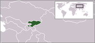 A map showing the location of Kyrgyzstan
