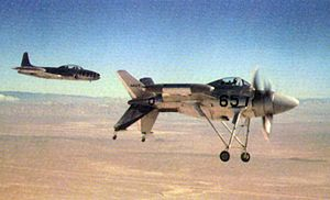 Lockheed XFV - The first XFV-1 during a test flight at Edwards AFB.