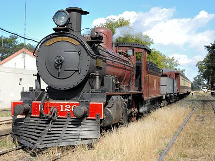 "2-6-0 type ""N3"" steam locomotive built by Beyer Peacock in 1910 and restored 2005–2007 by the Uruguayan Railfan Association (AUAR). The photo shows the locomotive with a passenger tourist train in March 2013 at a Montevideo railway station museum. Locomotora vapor Beyer Peacock 120.jpg"