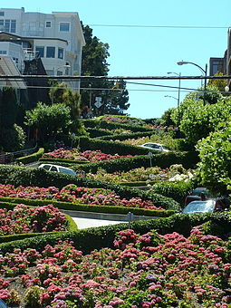 Cars navigate Lombard Street to descend Russian Hill. Lombardst.jpeg