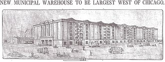 Municipal Warehouse No. 1 - Plans for the new Municipal Warehouse, published in the Los Angeles Times, Dec. 6, 1914