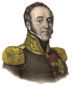 Portrait shows a haughty looking, clean-shaven man with long sideburns and a receding hairline. He wears a dark military uniform with gold epaulettes and a high collar trimmed with gold lace.