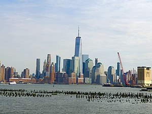 The new One World Trade Center dominating the Lower Manhattan, seen from Hoboken in 2019