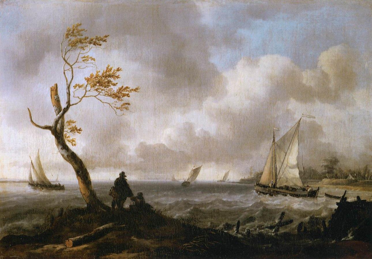 Bateaux de pêche et cabotier par gros temps