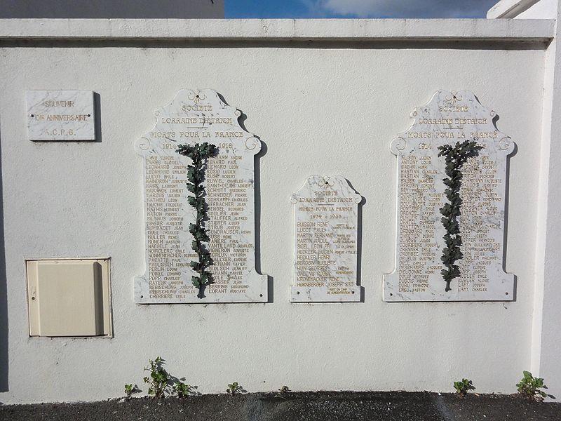Lunéville (M-et-M) mur du souvenir usine Lorraine Dietrich