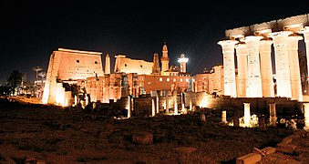 Luxor, Luxor Temple, south west view at night, Egypt, Oct 2004.jpg