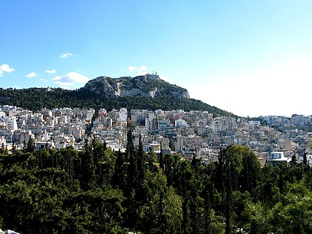 The Lycabettus Hill from the Pedion tou Areos park. Lycabetus hill from Areos park, Athens, Greece - panoramio.jpg