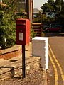 Lyme Regis, postbox No. DT7 34, Pound Road and glimpse of Golden Cap - geograph.org.uk - 1485595.jpg