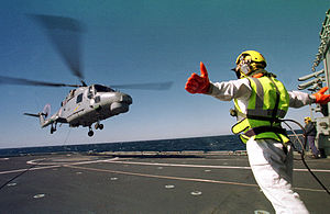 Portuguese Naval Aviation - A Portuguese Navy Lynx helicopter takes off from the flight deck of the Vasco da Gama class frigate, NRP ''Vasco da Gama'' (F-330).