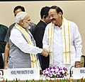 "M. Venkaiah Naidu, the Prime Minister, Shri Narendra Modi at the release of Book ""MOVING ON… MOVING FORWARD- A YEAR IN OFFICE"", published on the completion of One Year in the Office of the Vice President (1).JPG"