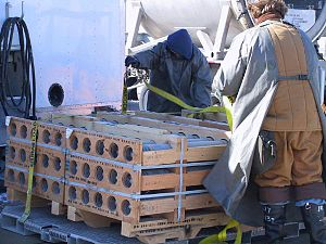 Deseret Chemical Depot - A pallet of M55 VX Nerve Agent-filled Rockets are prepared for transport from DCD's chemical agent storage area to the nearby Tooele Chemical Agent Disposal Facility for destruction