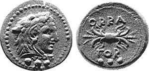 Iapygians - Roman coin portraying Hercules from Oria, the most ancient Iapygian city.