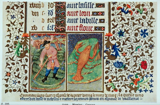 MS 18850, fol. 6r London British Library June and Cancer