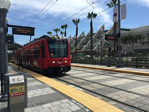 San Diego Trolley - A San Diego Trolley (Green Line) at Convention Center Station.