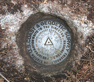 Geodetic control network - Control point marker placed by the US Coast and Geodetic Survey
