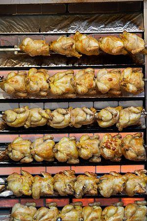 Roast chicken - Rotisserie chicken at the Fiestas de San Isidro in Madrid in 2007