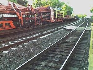 Track renewal train - A track renewal train in Pennsylvania