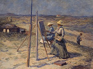Tupsy Clement - Johannes Wilhjelm, Young female artists in Skagen, 1912, Skagens Museum.  Artists Tupsy Clement og Ella Heide in the foreground. In the back on the left is Tupsy's husband and colleague G.F. Clement.