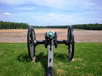 Battle of Malvern Hill - The gentle slope of the hill has been cleared to show the open ground in front of the Union cannon, as it was originally.
