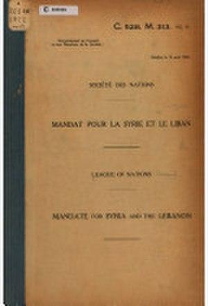 League of Nations mandate - Syria and Lebanon