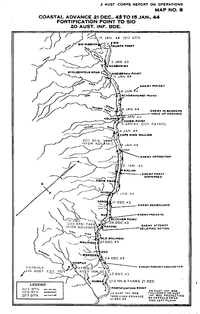 map of New Guinea coast with arrows indicating route taken by the Australian advance.