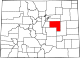 Map of Colorado highlighting Elbert County.svg
