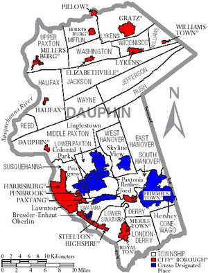 Dauphin County, Pennsylvania - Map of Dauphin County, Pennsylvania with municipal labels showing cities and boroughs (red), townships (white), and census-designated places (blue).