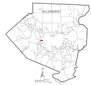 Map of Ingram, Allegheny County, Pennsylvania Highlighted.png