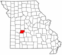 Map of Missouri highlighting Hickory County.png