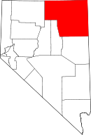 Map of Nevada highlighting Elko County