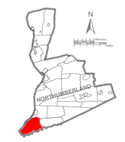 Map of Northumberland County, Pennsylvania highlighting Lower Mahanoy Township