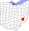 State map highlighting Noble County