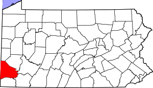 Map of Pennsylvania highlighting Washington County