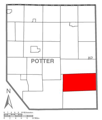 Abbott Township, Potter County, Pennsylvania - Image: Map of Potter County, Pennsylvania Highlighting Abbott Township