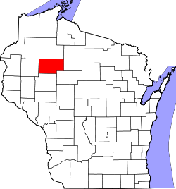map of Wisconsin highlighting Rusk County
