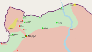 Combat operations in 2012 during the Battle of Aleppo - Map of northern Aleppo on 20 July 2012