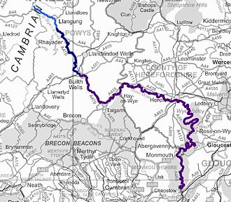 River Wye - Map showing the River Wye from source to sea, excluding tributaries