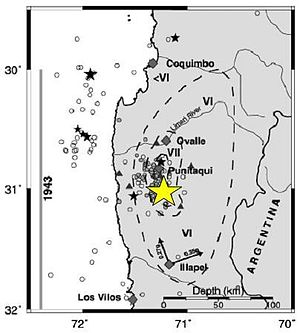 1997 Punitaqui earthquake - Location of the earthquake and aftershocks.