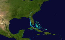 A small storm forms off the coast of Cuba and continues northward before making landfall in Florida as a tropical storm