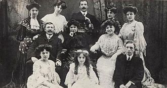 Marie Lloyd - The Wood family, from left to right: Top row: Daisy, Rosie, John, Grace, Alice. Middle: John Wood (father), Matilda (mother), Marie. Bottom: Annie, Maud, Sydney