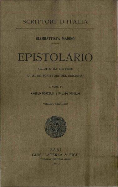 File:Marino, Giambattista – Epistolario, Vol. II, 1912 – BEIC 1873537.pdf