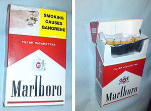 Cigarette pack - Flip-up top of a hard pack