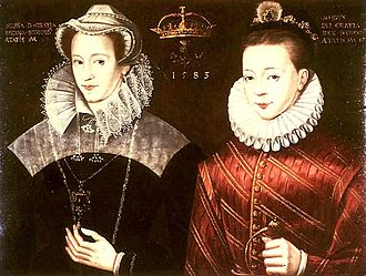Mary depicted with her son, James VI and I; in reality, Mary saw her son for the last time when he was ten months old. Mary Stuart James.jpg