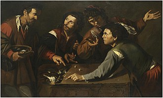 Master of the Gamblers - Dice-players and a bird-seller gathered around a stone slab