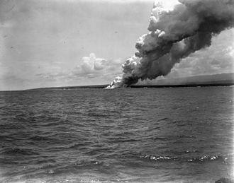 Mount Matavanu - Image: Matavanu volcanic eruption Savai'i 1905